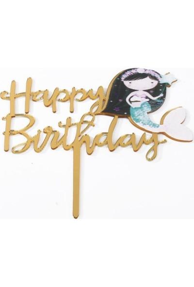 Beysüs Deniz Kızı Happy Birthday Pasta Süsü Gold