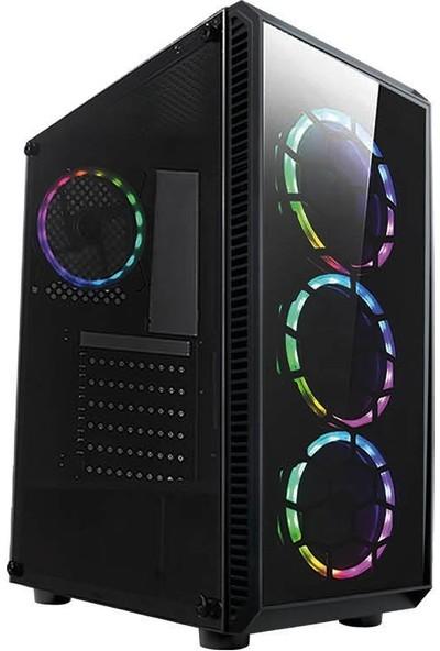 Gaming 300W Psu 4xrainbow Fan 2x2.0 USB Mid Tower Oyuncu Bilgisayar Kasası