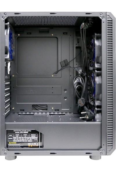 Gaming 300W Psu 4xsingle Color Blue Fan 2x2.0 USB Mid Tower Oyuncu Bilgisayar Kasası
