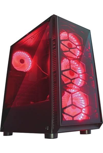Gaming 300W Psu 4xsingle Color Red Fan 2x2.0 USB Mid Tower Oyuncu Bilgisayar Kasası