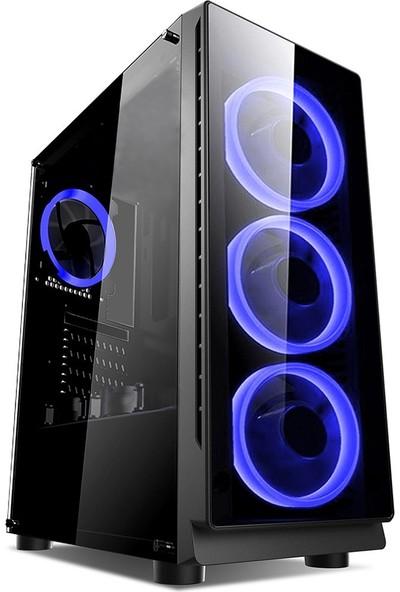 Gaming 400W Psu 4xsingle Color Blue Fan 1x3.0 USB Mid Tower Oyuncu Bilgisayar Kasası