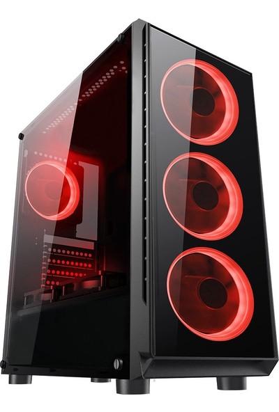 Gaming 400W Psu 4xsingle Color Red Fan 1x3.0 USB Mid Tower Oyuncu Bilgisayar Kasası