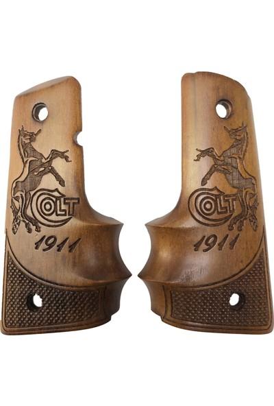 Arslantaş Colt 1911 Parmak Geçmeli Colt Logo ve Yazılı Lazer Kesim Ahşap Kabze