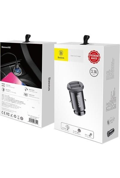 Baseus CCALL-ML01 Mini Dual USB 3.1A Max Çıkışlı Hızlı Araç Şarj Başlığı - Siyah