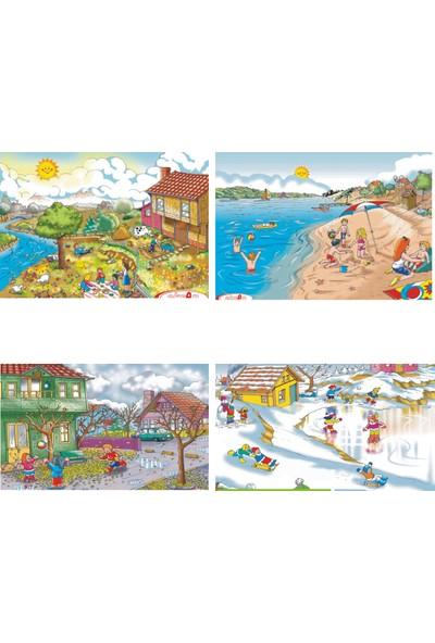 Eksen Mevsimler Ahşap Puzzle 35 Parça - 4'lü Set