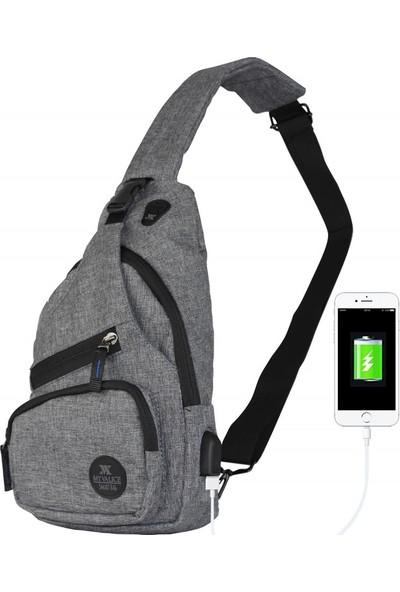 My Valice Smart Bag Usb'li Çapraz Göğüs Çantası 1503 Gri