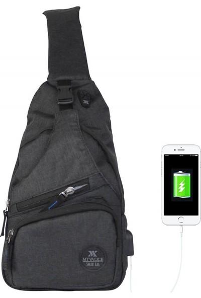 My Valice Smart Bag Usb'li Çapraz Göğüs Çantası 1503 Siyah