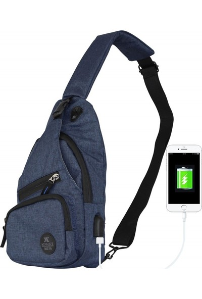 My Valice Smart Bag Usb'li Çapraz Göğüs Çantası 1503 Lacivert