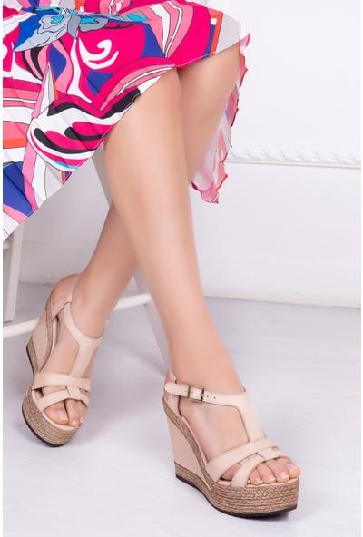 Tarçın Deri Günlük Bej Kadın Platform Sandalet Ayakkabı TRC142-0700