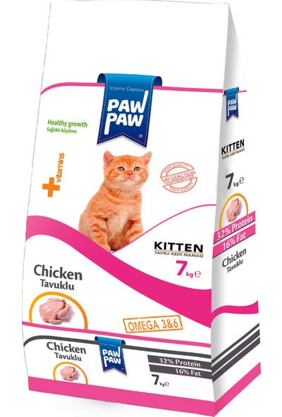Pawpaw Tavuklu Yavru Kedi Maması 7 kg