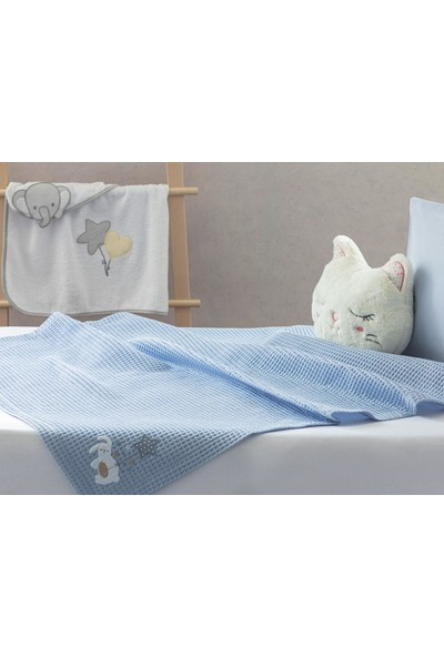 Englısh Home Sleepy Rabbit Aplikeli Bebe Pike 80 x 110 cm Mavi