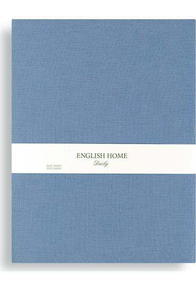 Englısh Home Düz Pamuklu Tek Kişilik Çarşaf 160 x 240 cm Urban Mavi