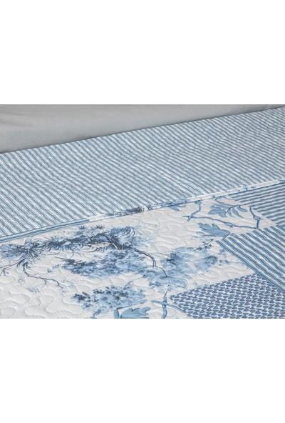 Englısh Home Toile Tek Kişilik Çok Amaçlı Yatak Örtüsü 160 x 220 cm Mavi