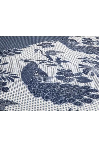 Englısh Home Peafowl Çift Kişilik Çok Amaçlı Yatak Örtüsü 200 x 220 cm Lacivert