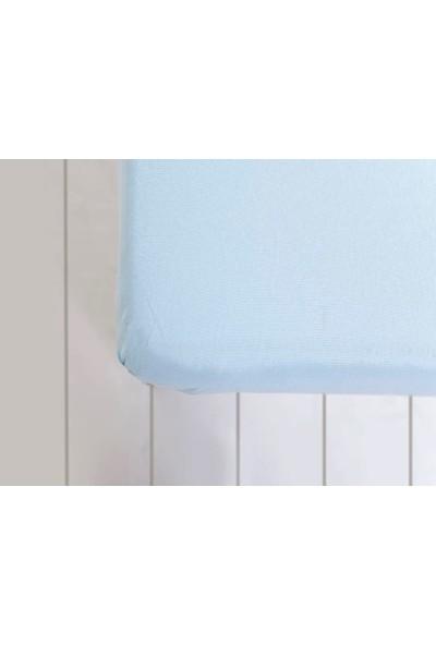 Englısh Home Düz Penye Tek Kişilik Lastikli Çarşaf Takımı 100 x 200 cm Mavi