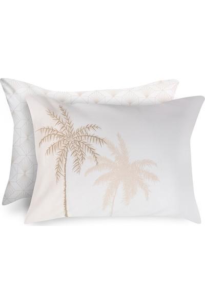 English Home Glitter Palm Pamuklu 2'li Yastık Kılıfı 50x70 Cm Bej
