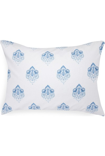 English Home Chic Damask Pamuklu 2'li Yastık Kılıfı 50x70 Cm Mavi