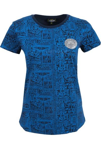 Fenerium Kadin Tribün Lacivert Pattern T-Shirt