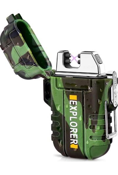 Explorer Explorer Yeşil Su Geçirmez Alevsiz Elektrikli Çakmak - U.s.a