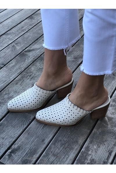 Shoemark Nossa Deri Nude Topuklu Terlik
