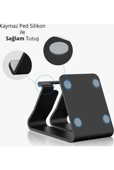 Wlue Masaüstü Metal Tablet ve Telefon Standı Siyah