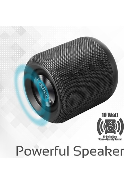Promate Hummer Bluetooth Hoparlör FM RAdyolu Stereo 10W AUX + Kart Girişi