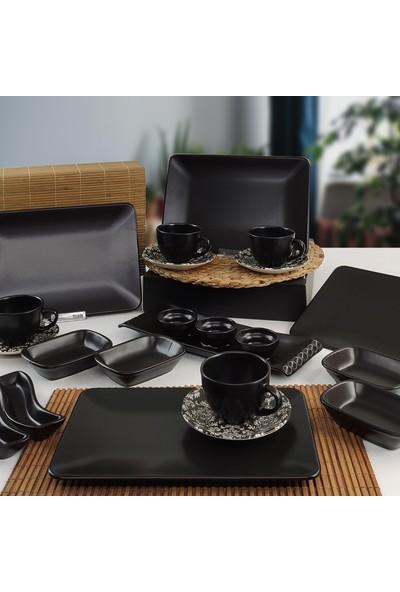 Keramika Siera 22 Parça 4 Kişilik Kahvaltı Takımı Siyah