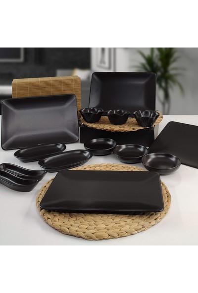 Keramika Siera 14 Parça 4 Kişilik Kahvaltı Takımı Siyah