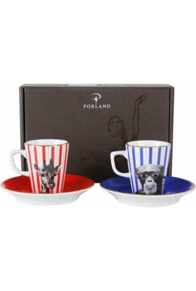 Porland Wild Life Monkey Kahve Takımı 4 Parça