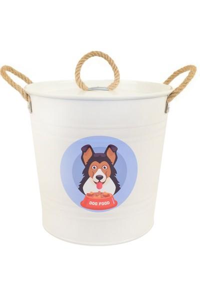 Desen Dekorasyon Köpek Maması Saklama Kabı Urgan Kulplu Beyaz