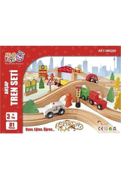 Hi-Q Toys 80 Parça Ahşap Yol - Şehir Seti