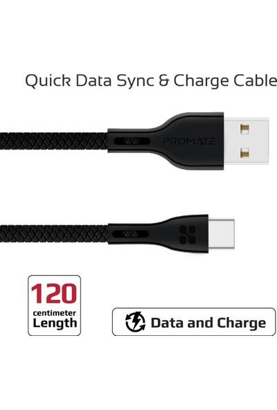 Promate Powerbeam-C Şarj ve Data Kablosu Type-C Cihazlar İçin Sağlam PVC 1,2 metre