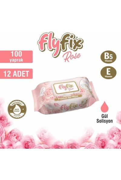 Flyfix Rose Islak Mendil Gül Kokulu 12 Paket 1200 Yaprak