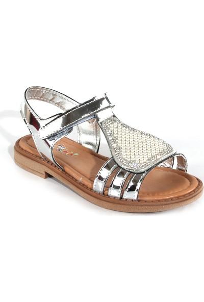 Akıllı Şirin Taş İşlemeli İnci Döşeli Genç Kız Çocuk Sandalet Silver 26