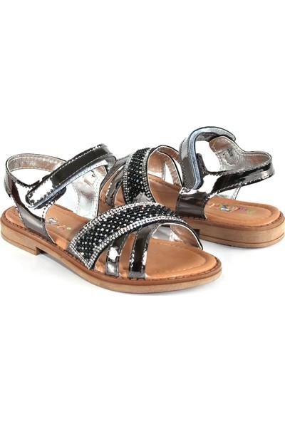 Akıllı Şirin Taş İşlemeli İnci Döşeli Genç Kız Çocuk Sandalet Gümüş 26