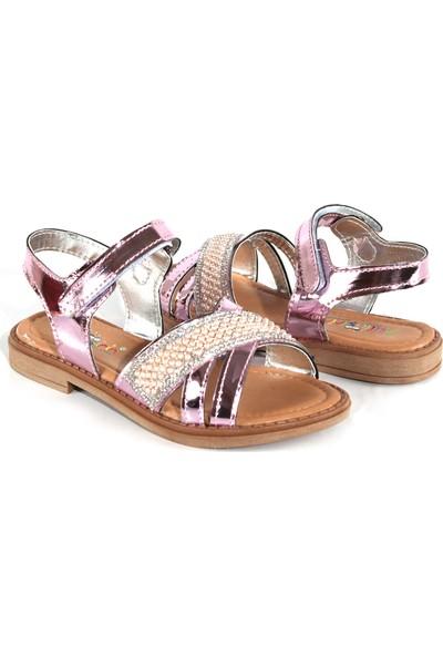 Akıllı Şirin Taş İşlemeli İnci Döşeli Genç Kız Çocuk Sandalet Pink 26