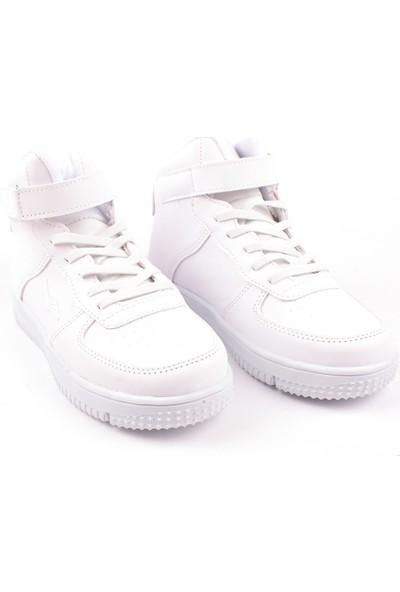 Cool Tek Renk Antibakteriyel Uzun Boğazlı Çocuk Günlük Spor Ayakkabı Beyaz 31