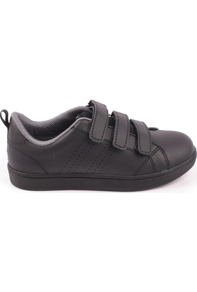 Cool Tek Renk Antibakteriyel Anatomik 3 Cırtlı Çocuk Günlük Spor Ayakkabı Siyah 31