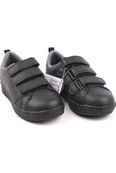 Cool Tek Renk Antibakteriyel Anatomik 3 Cırtlı Işıklı Çocuk Günlük Spor Ayakkabı Siyah 26