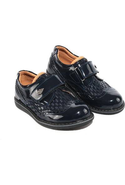Akıllı Şirin Rugan Klasik Cırtlı Genç Erkek Çocuk Ayakkabı Lacivert 26