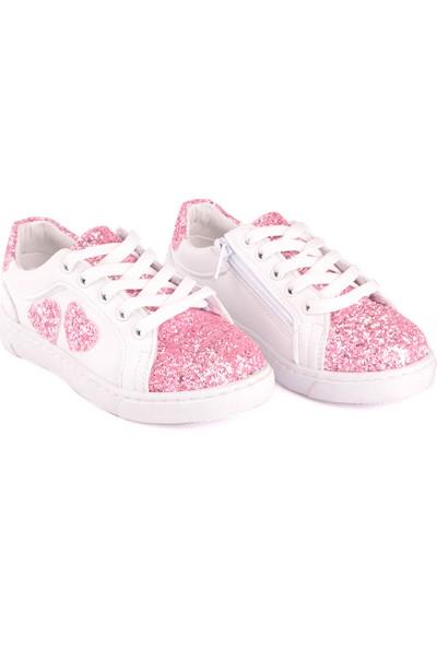 Akıllı Şirin İçi Deri Kalpli Taşlı Taşlı Çocuk Günlük Spor Ayakkabı Pudra Beyaz 27