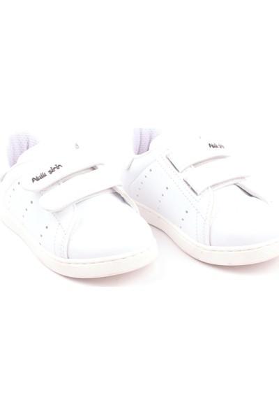 Akıllı Şirin Antibakteriyel Tek Renk Unisex Çocuk Günlük Spor Ayakkabı Beyaz 22