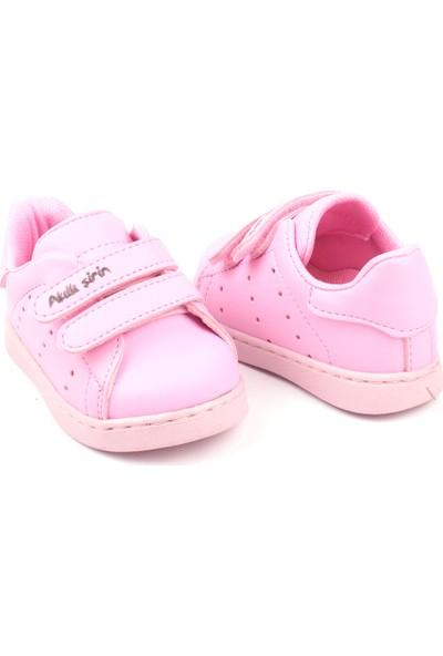 Akıllı Şirin Antibakteriyel Tek Renk Unisex Çocuk Günlük Spor Ayakkabı Pembe 19