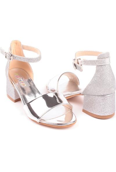 Akıllı Şirin Tek Bant Topuklu Yarım Simli Genç Kız Abiye Çocuk Ayakkabı Gümüş 26