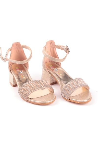 Akıllı Şirin Tek Bant Topuklu Yarım Simli Taş İşlemeli Genç Kız Abiye Çocuk Ayakkabı Altın 28