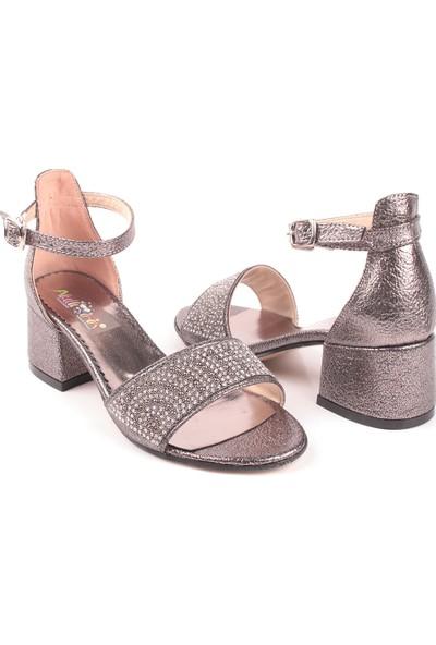 Akıllı Şirin Tek Bant Topuklu Yarım Simli Taş İşlemeli Genç Kız Abiye Çocuk Ayakkabı Platin 32