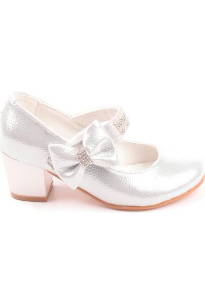 Akıllı Şirin Taş İşlemeli Topuklu Genç Kız Çocuk Abiye Ayakkabı Gümüş 26