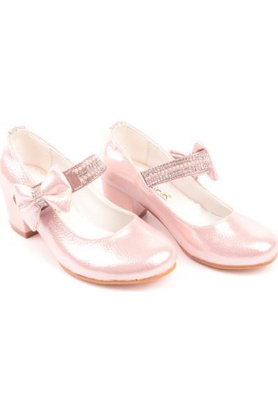 Akıllı Şirin Taş İşlemeli Topuklu Genç Kız Çocuk Abiye Ayakkabı Pudra 27