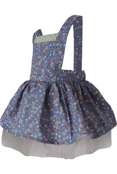 Shecco Babba Kız Çocuk Tütü Elbise Mavi Çiçekli 1-4 Yaş