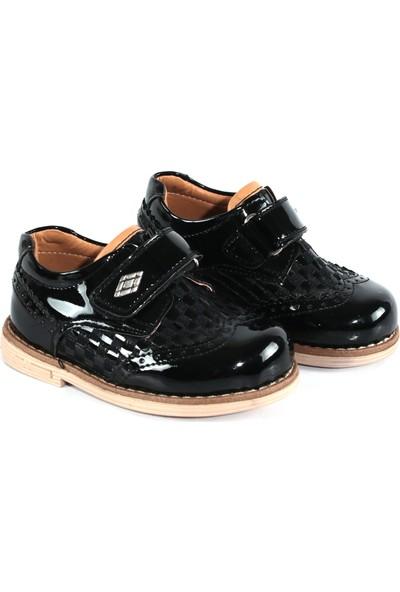 Akıllı Şirin Rugan Klasik Cırtlı Erkek Çocuk Ayakkabı Siyah